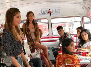 product launch venue - on the bus with Chantel